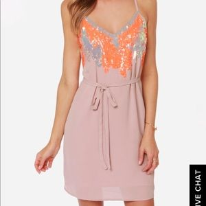 Blush and Neon Sequin Dress